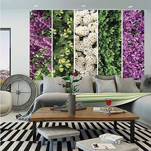 (SoSung Flower Huge Photo Wall Mural,Collage Mix Diverse Herbs and Blossoming Bouquet Flowers Romantic Wedding Concept,Self-Adhesive Large Wallpaper for Home Decor 100x144 inches,Green)