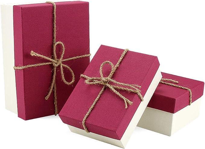 VEESUN Cajas de regalo grandes para regalos, 3 juegos de cajas de presentación de cartón con tapas, cumpleaños de navidad Cajas de regalo para mujeres hombres, Rojo: Amazon.es: Oficina y papelería