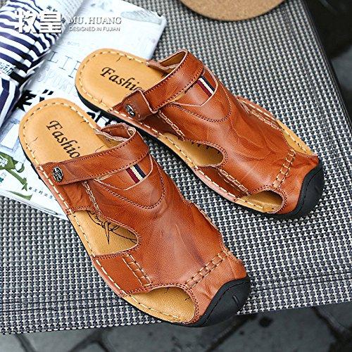 Xing Lin Sandalias De Cuero Los Nuevos Hombres De La Cool Verano Zapatillas Sandalias De Playa Marea Masculina Zapatos, Calzado Casual Zapatos Agujero Agujero ,41, Marrón Oscuro