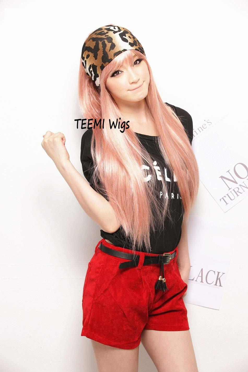 TEEMI-Long Straight Pink Wig With Bangs Hair Wigs Heat Resistance