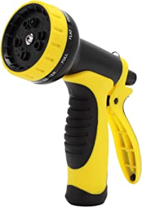 "M MOKENEYE Garden Hose Nozzle Sprayer Hand Spray with 10 Patterns, High Pressure Water Hose Nozzle 3/4"" Heavy Duty for Watering Plants, Washing Cars, Pets Cleaning (Yellow)"