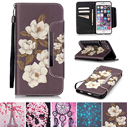 iPhone 6/6S Case, [Kickstand] [Card/Cash Slots] Lightweight PU Leather Wallet Flip Cover with Wrist Strap for Apple iPhone 6/6S 4.7