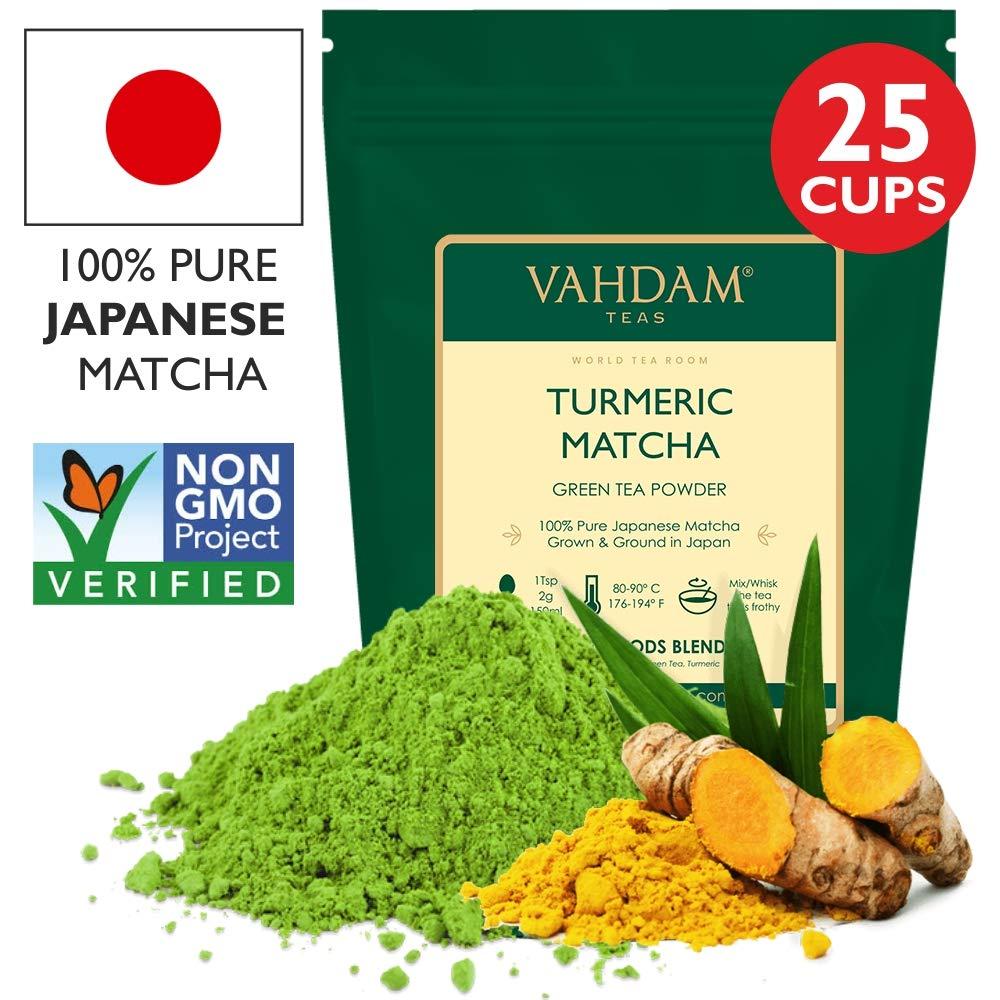 Powerful SUPERFOODS Blend Rich with Curcumin TURMERIC MATCHA Green Tea Powder,1.76oz Pure Japanese Matcha Powder with Indian Turmeric Powder