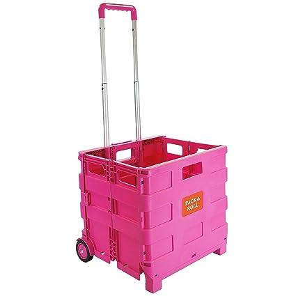 Carrito de la compra plegable de plástico – ligero carrito de libros para profesor – Caja de almacenamiento plegable con ruedas con asa de aluminio