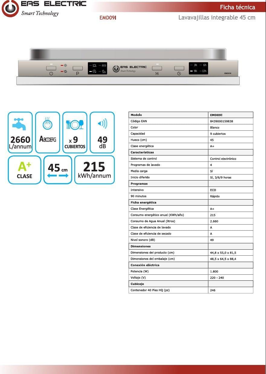 Lavavajillas Blanco Eas Electric EMD09I 45cm A+ 4 programas ...
