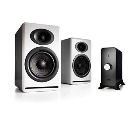 Audioengine P4 Passive Bookshelf Speakers And N22 Audio Amplifier Desktop Speaker System White