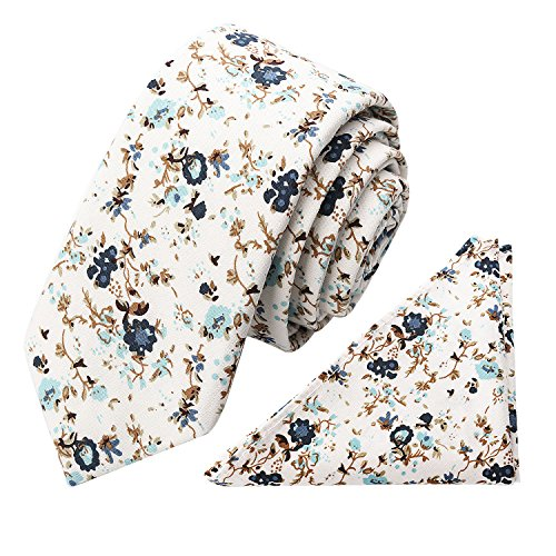 Skinny Floral Necktie with Pocket Square Gift Set 100% Cotton Blue and White