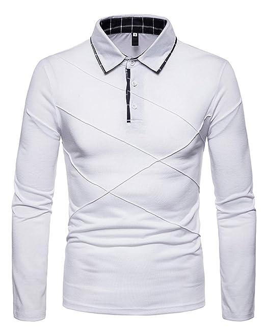 new styles 43ee0 78255 JOLIME Polo Uomo Manica Lunga Cotone Elegante con Colletto ...