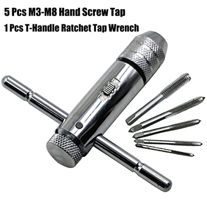 5 Pcs M3-M8 Hand Screw Tap Set /& Adjustable T-Handle Ratchet Tap Holder Wrench