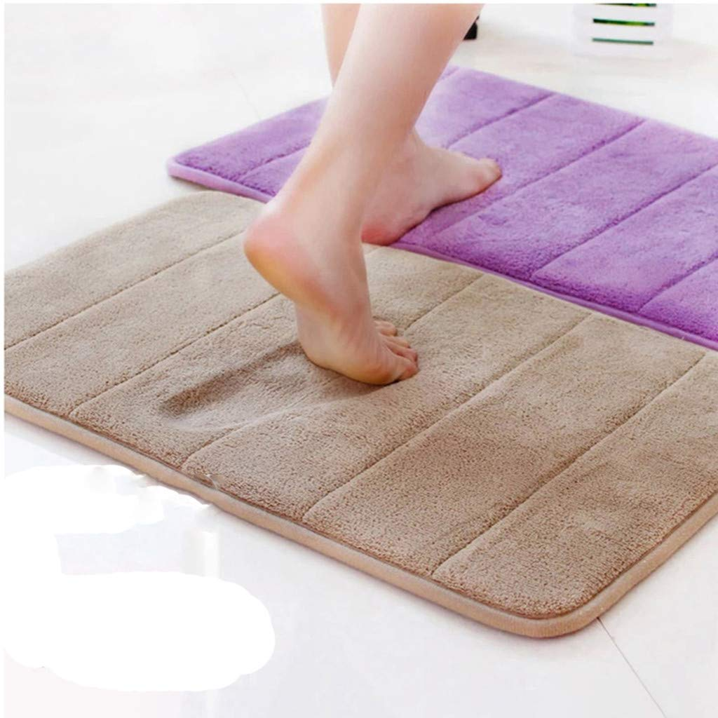 Houshelp Bath Mat Non Slip Absorbent Super Cozy Velvet Bathroom Rug Carpet Soft and Comfortable Water Absorption Mat Brown