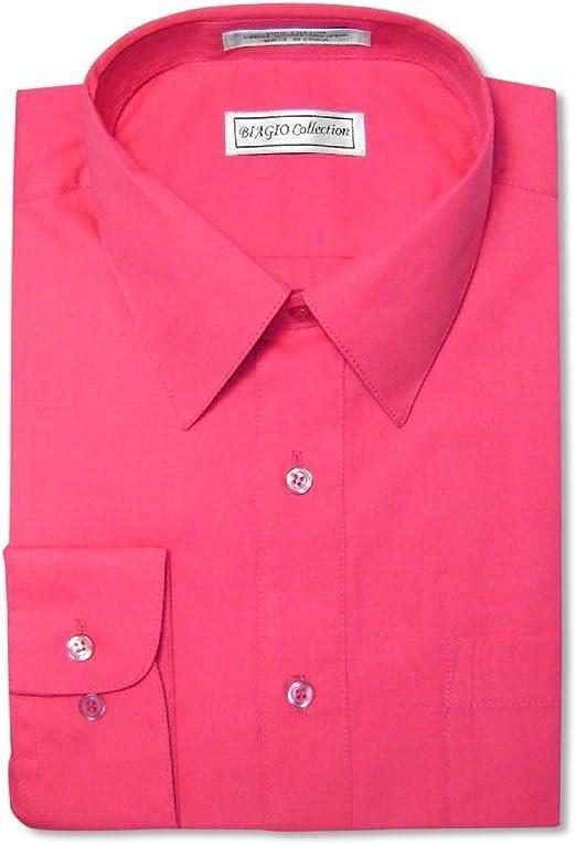 Berlioni Men/'s Convertible Cuff Solid Dress Shirt-fuchsia-l Sleeve 32//33