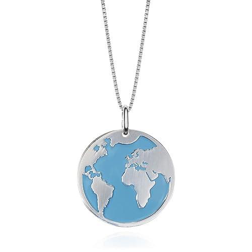 715b797d5efb EMPATHY JEWELS Collar Mundo de Plata de Ley con Cadena de Plata 42 cm. Collar  Plata Globo Terraqueo para Regalos Mujer.  Amazon.es  Joyería