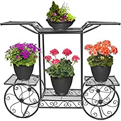 Sorbus Garden Cart Stand & Flower Pot Plant Holder Display Rack, 6 Tiers, Parisian Style - Perfect for Home, Garden, Patio (Black)