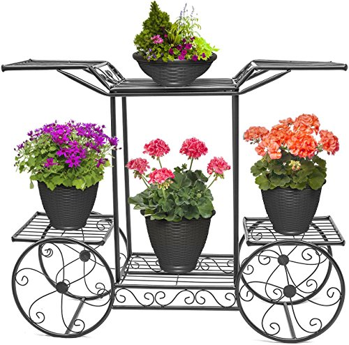 Iron Cart Wrought Metal - Sorbus Garden Cart Stand & Flower Pot Plant Holder Display Rack, 6 Tiers, Parisian Style - Perfect for Home, Garden, Patio (Black)