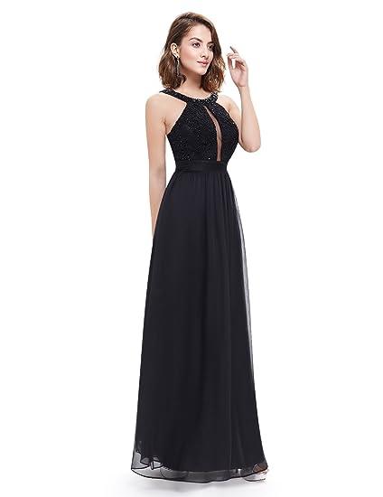 Ever Pretty Sexy Halter Neck Keyhole Beaded Long Evening Dress 8 UK Black