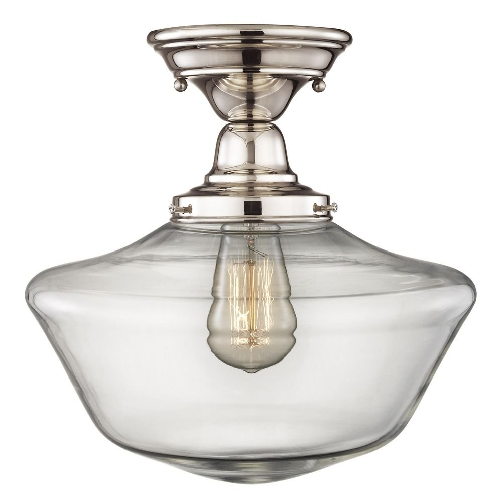 Schoolhouse Semi-Flush Ceiling Light Polished Nickel with Clear Glass