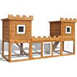 vidaXL Rabbit Hutch Large 2-Layer Double Wood Pet House Cage Animal Pig Hen