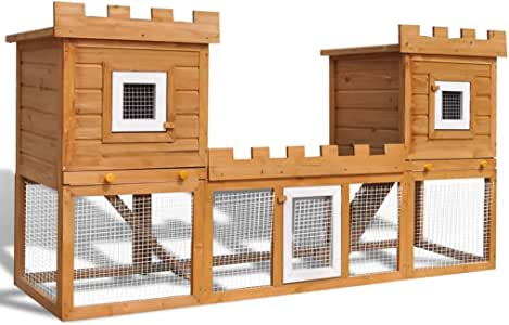 vidaXL Rabbit Hutch Large 2-Layer Double Wood Pet House Cage Animal Pig Hen