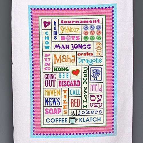 (Personalized hand-printed Mah Jongg-themed Kitchen Dish/Tea Towel ~ Add some color to your kitchen )