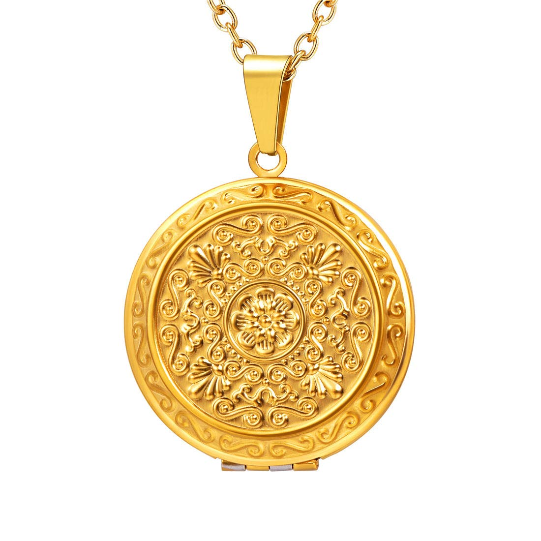 U7 Round Locket Pendant 18K Gold/Rose Gold Plated Rolo Chain Memorial Fashion Necklace for Women and Men, Hamsa Hand/Flower/ Egyptian Cross Engrved Style U7 Jewelry U7 P3516K