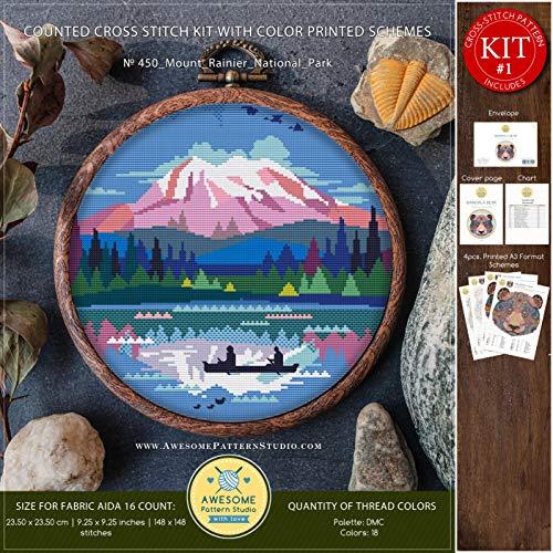 (Mount Rainier National Park #K450 Cross Stitch Kit   Landscape Cross Stitch Patterns   Cross Stitch World   Needlepoint   Stitch Design)