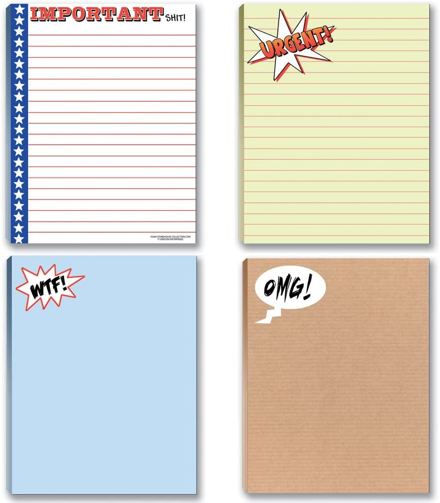 Funny Notepad Assorted Pack - Funny Office Supplies - 4 Funny to Do List Pads for The Office- WTF, OMG, Urgent, Important S#$t