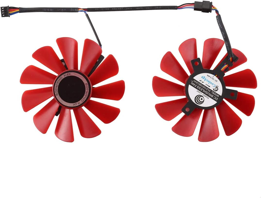 DC 12V 0.4A 4 Pin Female Red Leaf Desktop Computer Radiator Cooling Fan CPU Cooling Fan Pairs Diameter 8.5mm