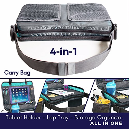 ORGANIZED EMPIRE's Detachable 4 in 1 Car Seat Travel Tray, Storage Organizer, Carry Bag & Tablet Holder for kids all in one. Most stable back seat Snack Tray on the market, no balancing required by Organized Empire (Image #1)