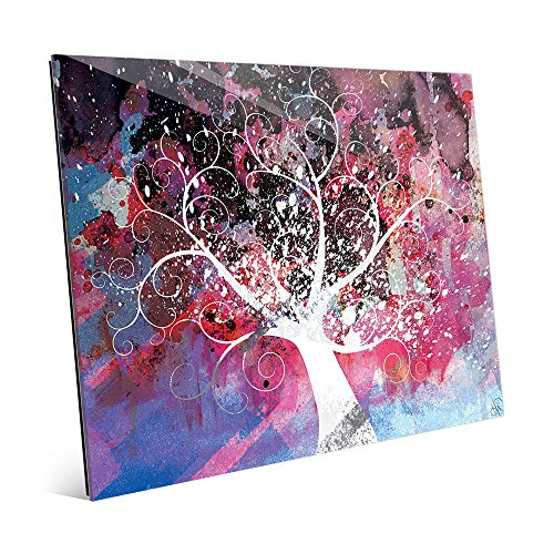 Mottled Cerise Willow Tree Abstract Wall Art Print on Glass