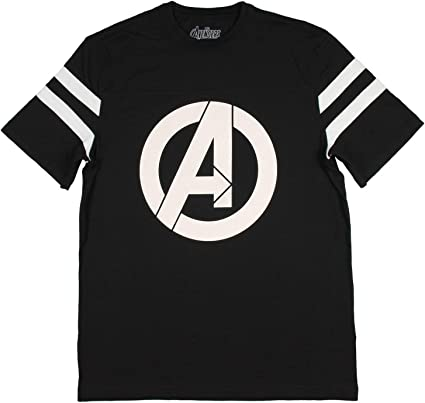 Marvel Womens Avengers Logo Varsity Football Tee Black