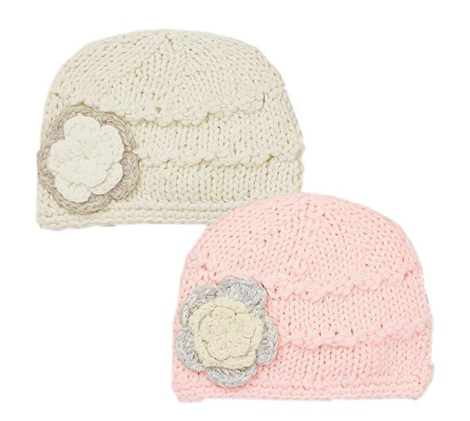 Gorra de lana de flores hechas a mano del sombrero del invierno ...