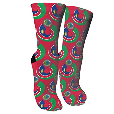 Namibia Flag Eat The EarthCrazy Socks Casual Cotton Crew Socks Cute Funny Sock Great For Sports And Hiking