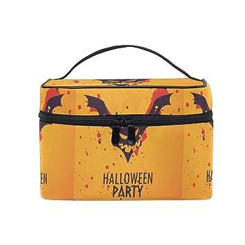Amazon.com   Halloween Party Bat Makeup Bag for Women Cosmetic Bag Toiletry  Train Case   Beauty 2fb77e83d