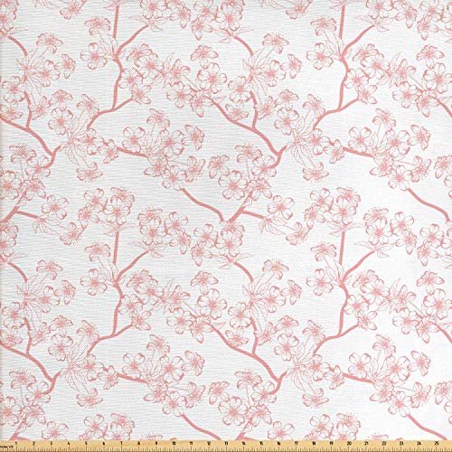 COVASA Cherry Blossom Fabric by The Yard, Retro Revival Sakura Pattern in Soft Color Chinese Japanese Culture Art, Decorative Fabric for Upholstery and Home Accents,10 Yards, Coral White
