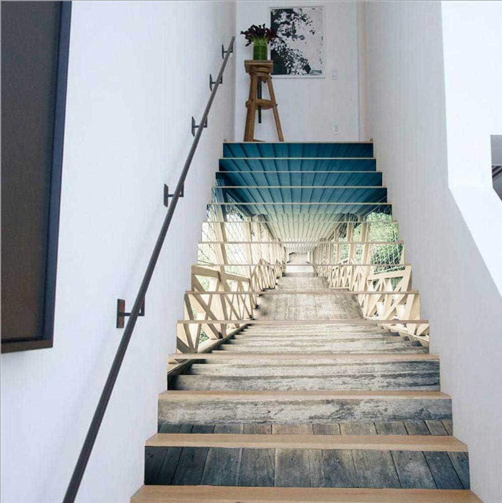 Rinnitt Escalera Pegatinas 3D Autoadhesivo Escaleras Verticales de la trayectoria del Paisaje murales de Vinilo Decal Wall Stickers Decoración Adhesivos para el hogar 13 Conjuntos,1: Amazon.es: Hogar