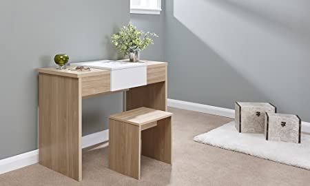 Home Source Dressing Table Set With Stool Fold Down Mirror Storage  Compartment, MDF/Chipboard