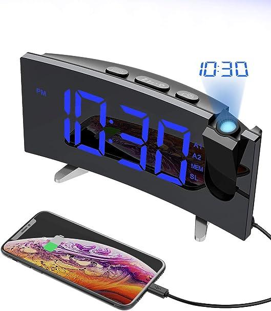 PICTEK Reloj despertador de proyección, reloj digital, proyector ...
