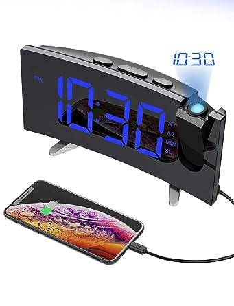 """Despertador Proyector, Holife Reloj Digital Proyector, Fácil de Operacion, 5""""Pantalla LED Curva &6 Brillo, Radio FM, [Dual Alarma con 3 Sonido Suave + ..."""