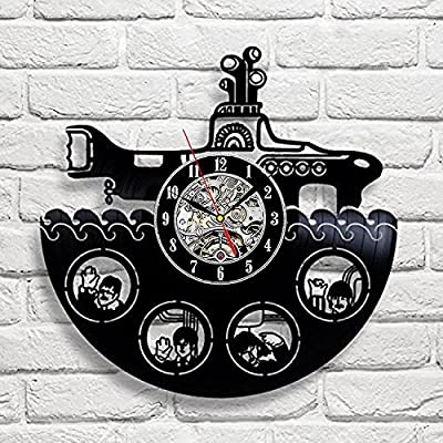 The Beatles Rock Band Yellow Submarine Vinyl Record Design Wall Clock - Decorate your home with Famous Rock Band Style Music Art - Best gift for man, woman, boyfriend and girlfriend