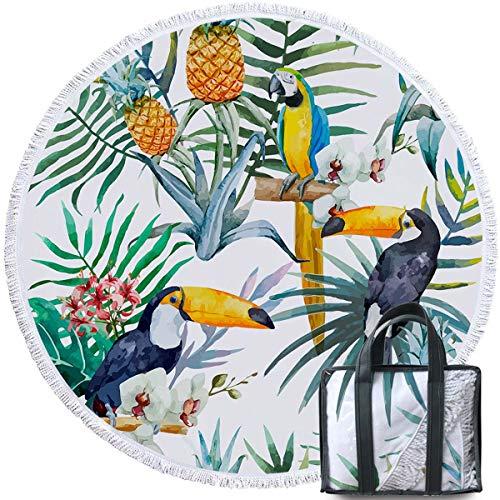 - Sleepwish Woodpecker Bird Beach Towel Round Tapestry Beach Throw Roundie Circle Tassel Tablecloth (Tropical Paradise, 60