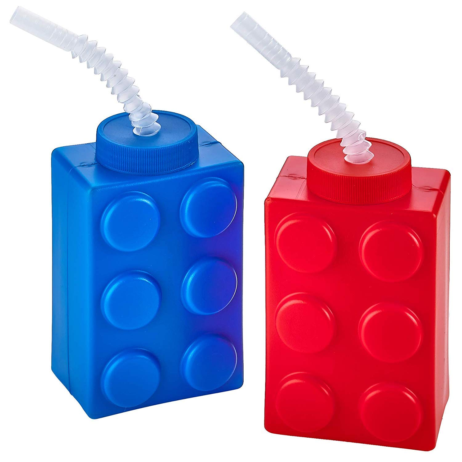 Set of 4 Reusable Lego Resembling Brick Party Kids Cup for Block Birthday Party Supplies and Favors Building Block Cups with Flexible Straws /& Lids