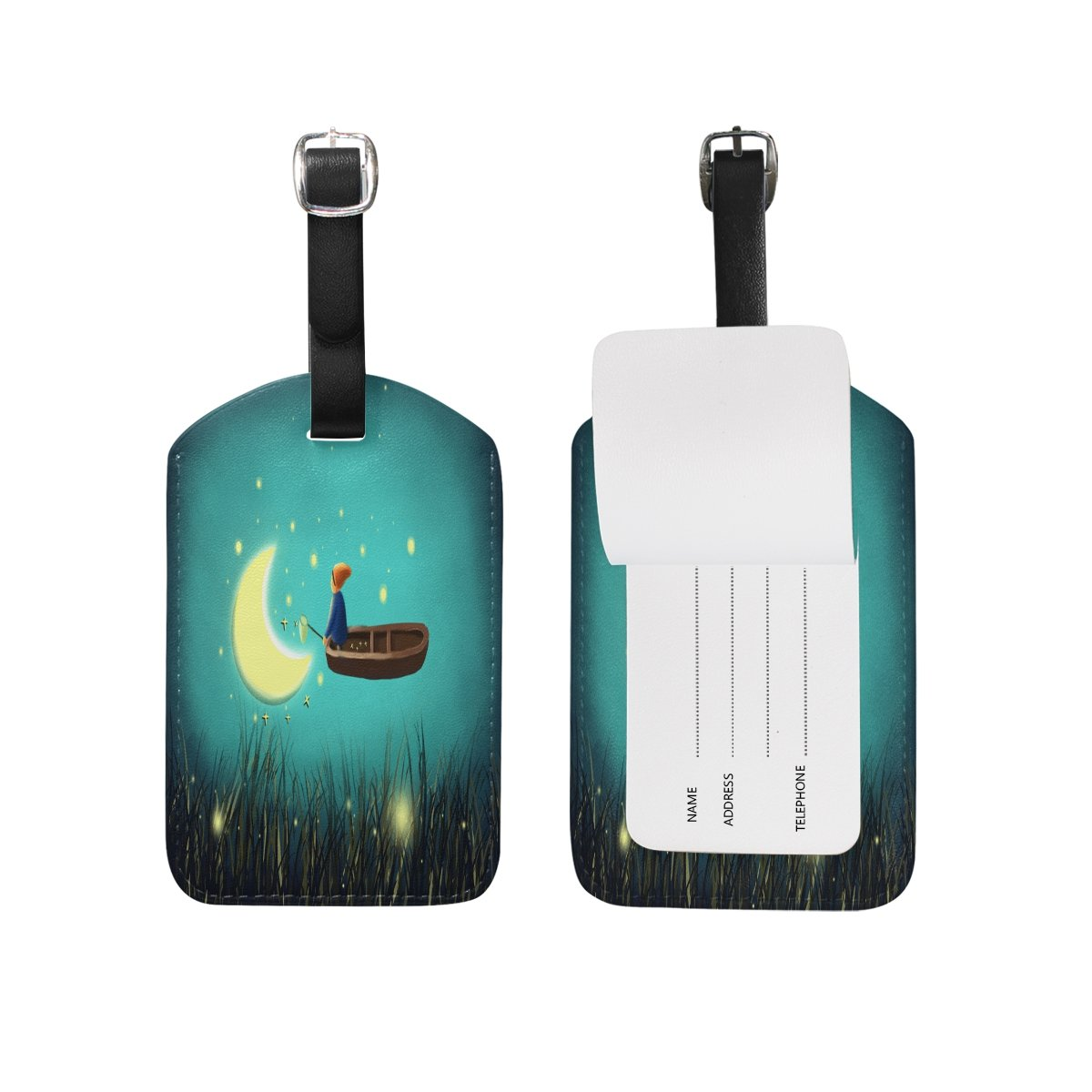 1Pcs Saobao Travel Luggage Tag Wooden Boat Moon Boy PU Leather Baggage Suitcase Travel ID Bag Tag