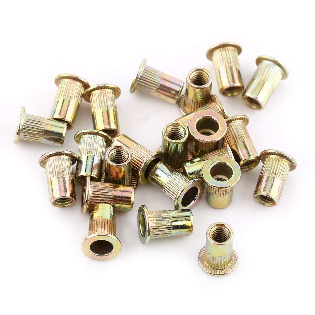 M5//100pcs 20Pcs M3-M12 in acciaio al carbonio con filettatura piatta Rivetto dado flangia Rivetto Nutsert Fastener 100