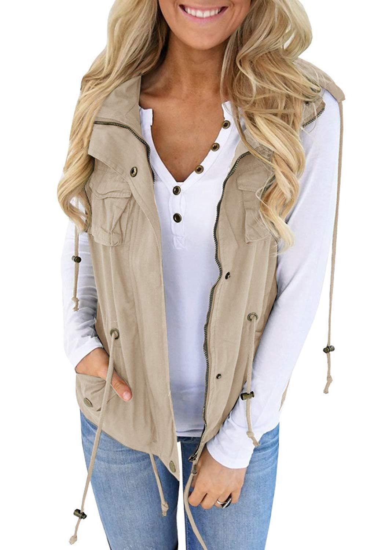 Tutorutor Women's Military Safari Utility Drawstring Lightweight Vest Jacket with Pocket (Large, Khaki) by Tutorutor