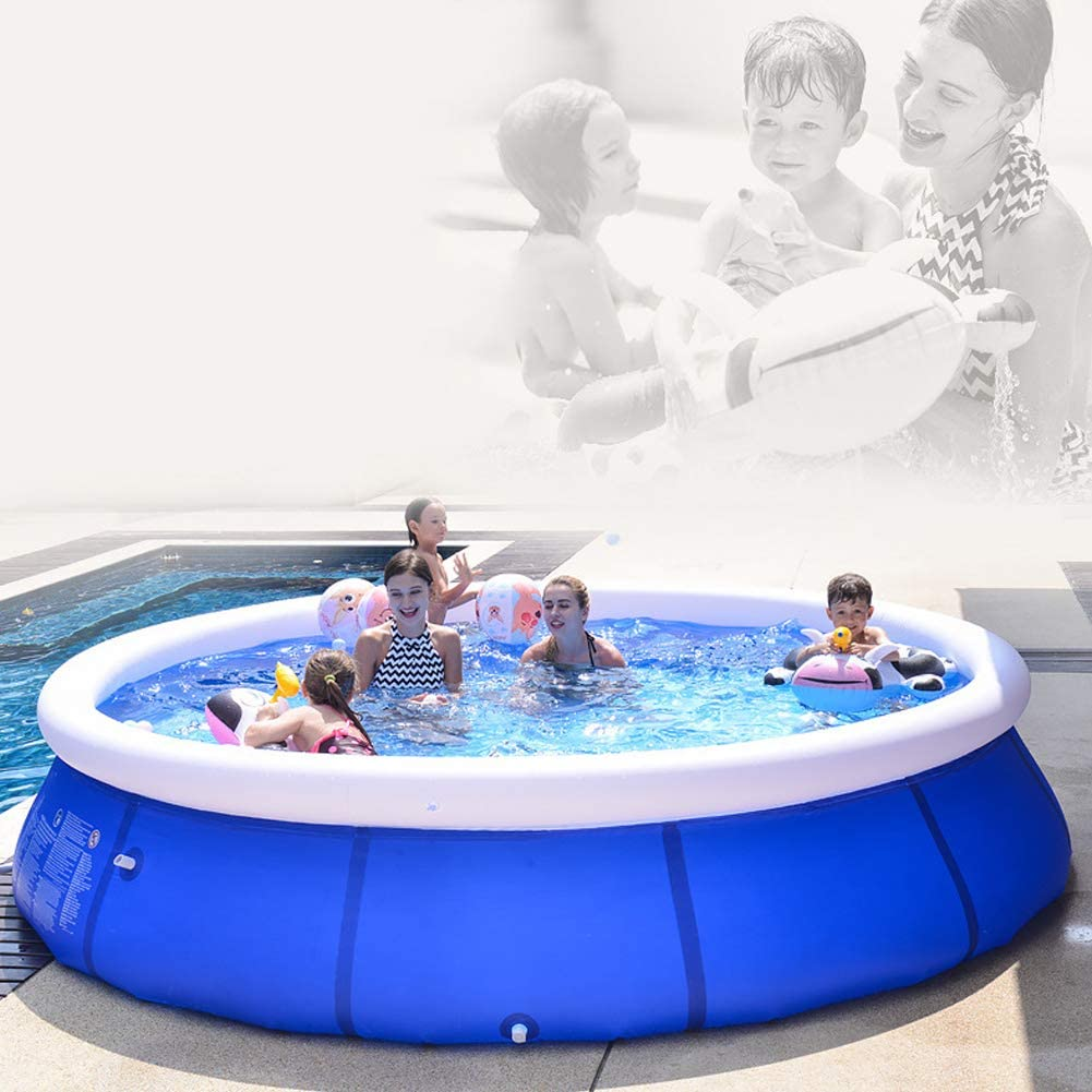 10ft x 30in Zaxicht Easy Set Pool Inflatable Pool Above Ground Swimming Pool with Foot Pump for Kids and Adults