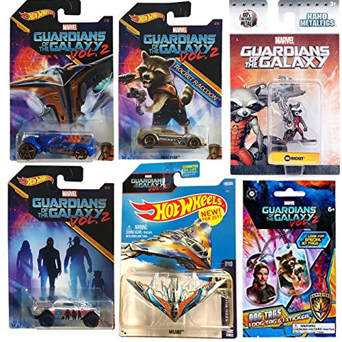 Nebula Marvel Costume (Marvel Guardians of the Galaxy Vol. 2 Rocket Racoon Hot Wheels Cars Movie Exclusive + Metal Mini Figure & Ship Milano #149 & Dog Tag Collectible Die-Cast bundle)