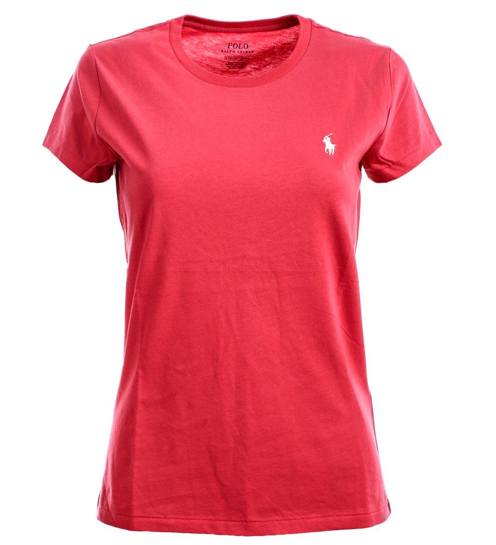 RALPH LAUREN Polo Women's Crewneck Pony Logo Tee (X-Large, Nantucket Red)