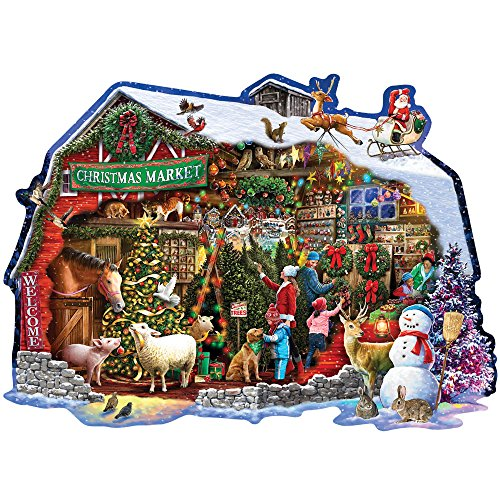 Bits and Pieces - 750 Piece Shaped Jigsaw Puzzle for Adults - Christmas Barn - 750 pc Santa Winter Holiday Jigsaw by Artist Larry Jones