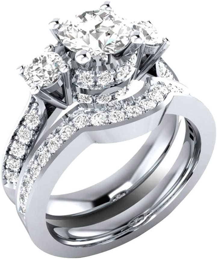 Silver,8 2 Pieces CZ Stackable Rings Cubic Zirconia Halo Solitaire Infinity 925 Sterling Silver Anniversary Eternity Bands FunDiscount Two-in-One Bridal Wedding Engagement Rings Set for Women