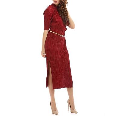 dad51acba8d La Modeuse Robe longue effet satiné manches courtes et fendue sur les côtés